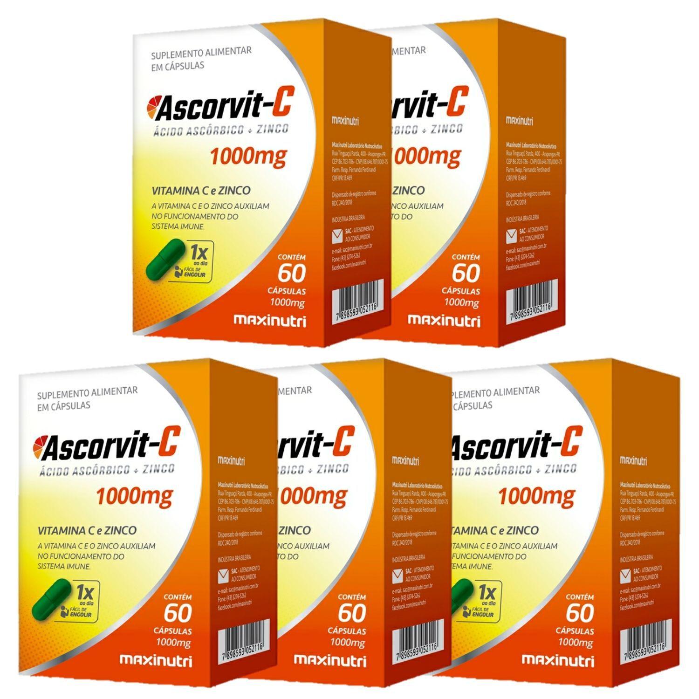 Kit com 5 Ascorvit C 1000mg 60 Cápsulas Maxinutri