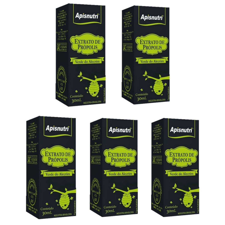 Kit com 5 Extrato de Própolis Verde 30ml Apisnutri