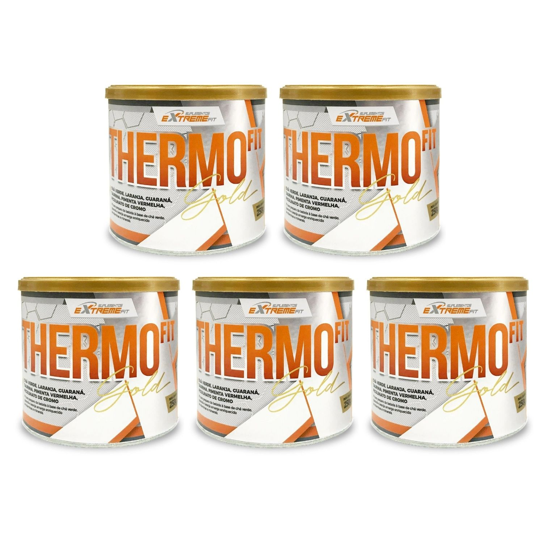 Kit com 5 THERMO Fit 100% Natural Termo e Diurético 250g ExtremeFit Sabor Frutas Cítricas