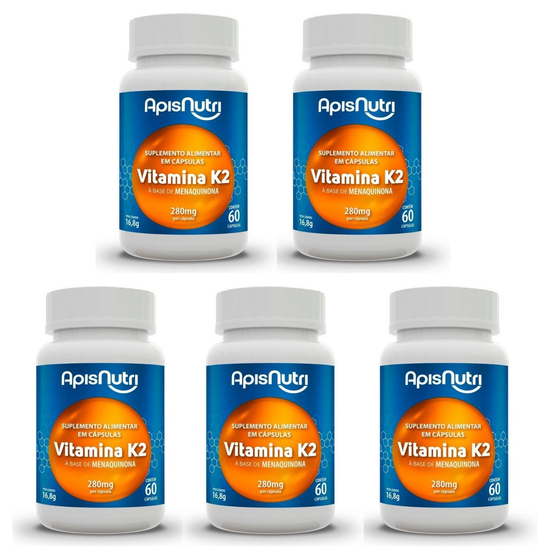 Kit com 5 Vitamina K2 60 Cápsulas Apisnutri