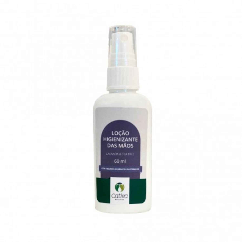 Loção Higienizante Álcool 70% com Lavanda e Tea Tree para Mãos Orgânico Natural Vegano 60ml Cativa Natureza