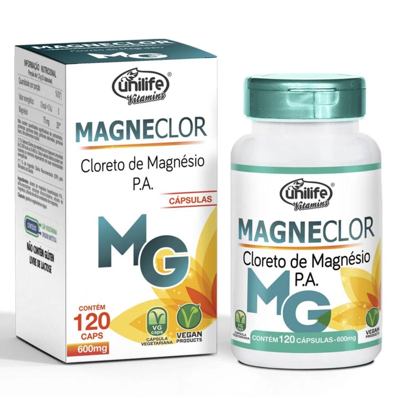 Magneclor Cloreto de Magnésio P.A. 600mg 120 Cápsulas Unilife