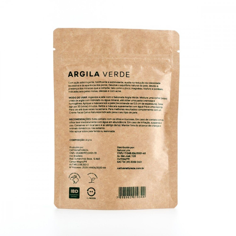 Máscara de Argila Verde Facial Natural Vegana 100g Cativa Natureza