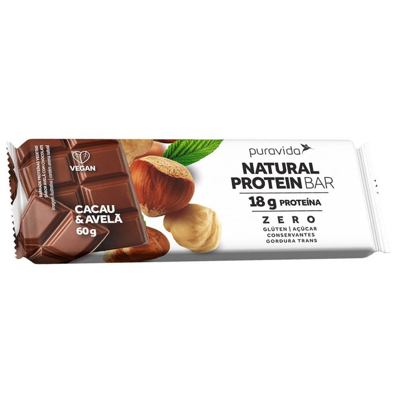 Natural Protein Bar 50g Puravida Cacau e Avelã