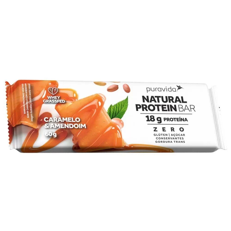Natural Protein Bar 60g Puravida Caramelo e Amendoim