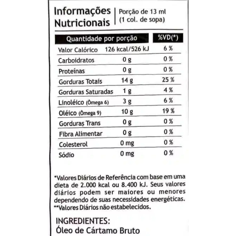 Óleo de Cártamo Vegetal Pazze 250ml