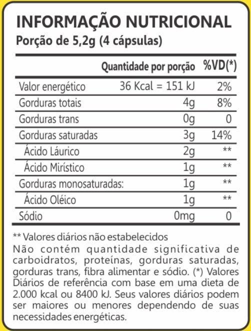 Óleo de Coco Extra Virgem 1000mg 60 Cápsulas Maxinutri