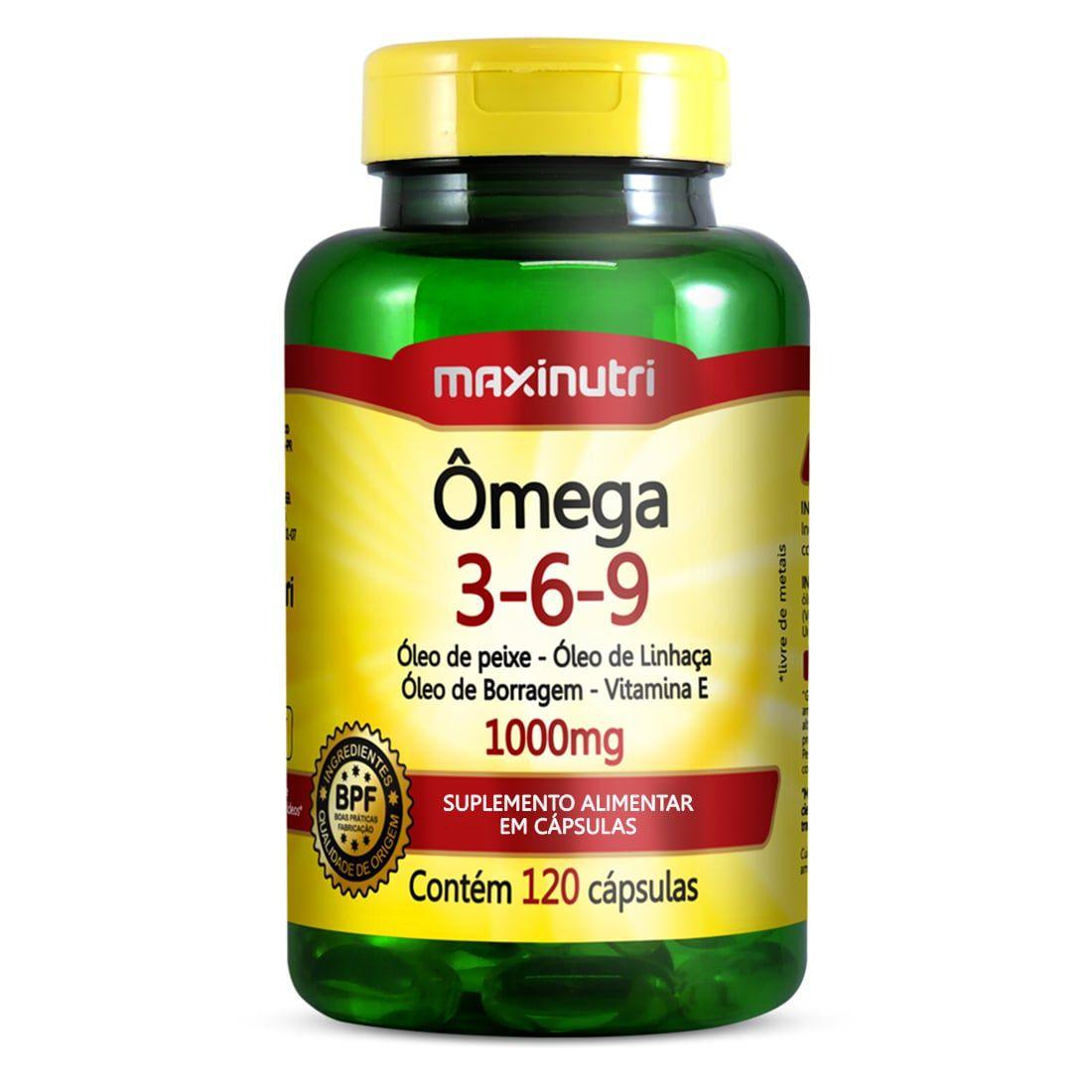 Ômega 3-6-9 1000mg 120 Cápsulas Maxinutri