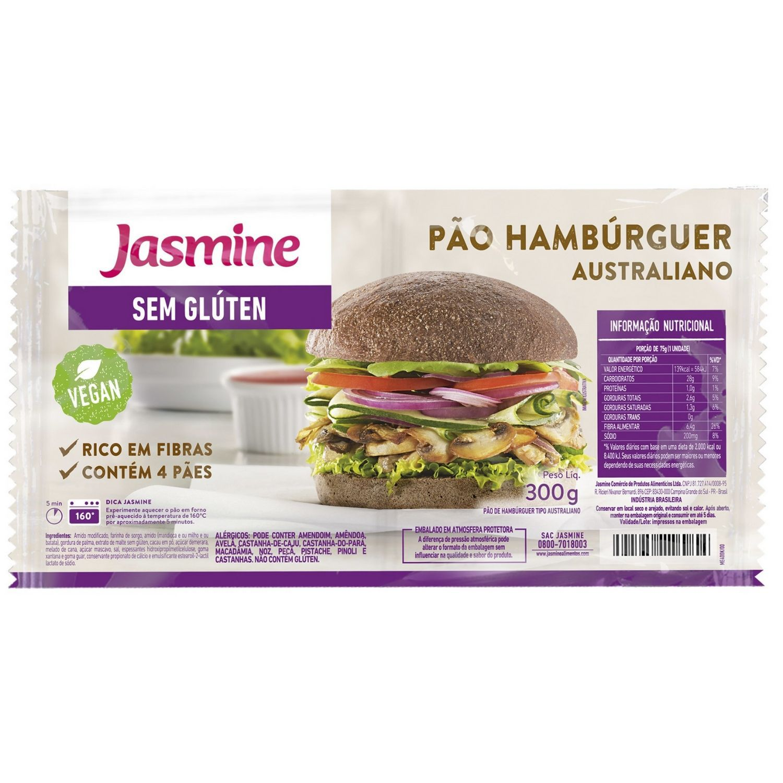 Pão de Hambúrguer Sem Glúten Australiano 300g  Jasmine