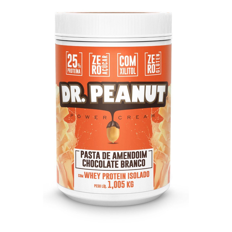 Pasta de Amendoim Dr Peanut Chocolate Branco com Whey Protein 1Kg Zero Açúcar