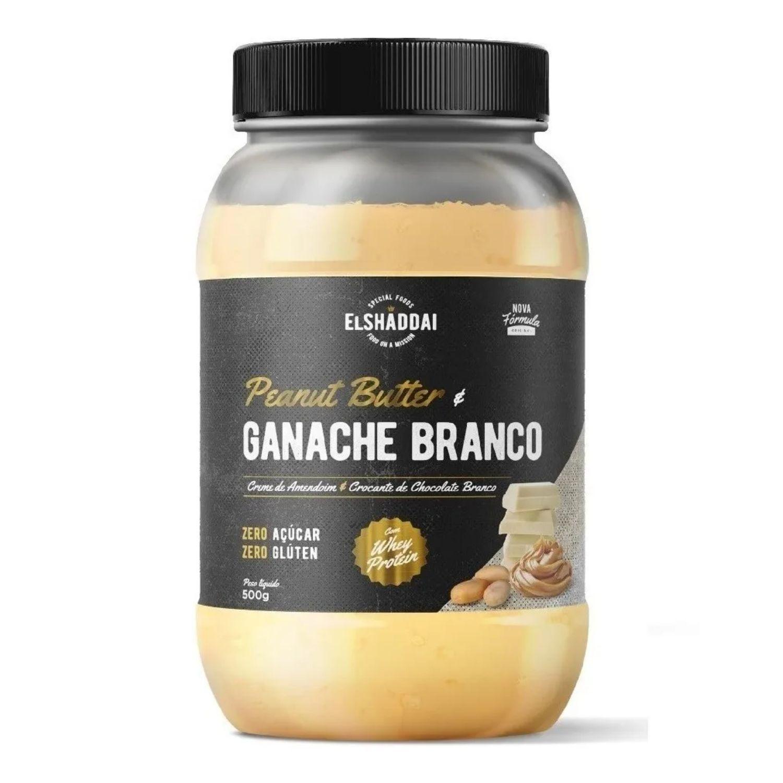 Pasta de Amendoim El Shaddai Chocolate Branco com Whey Protein 500g Zero Açúcar