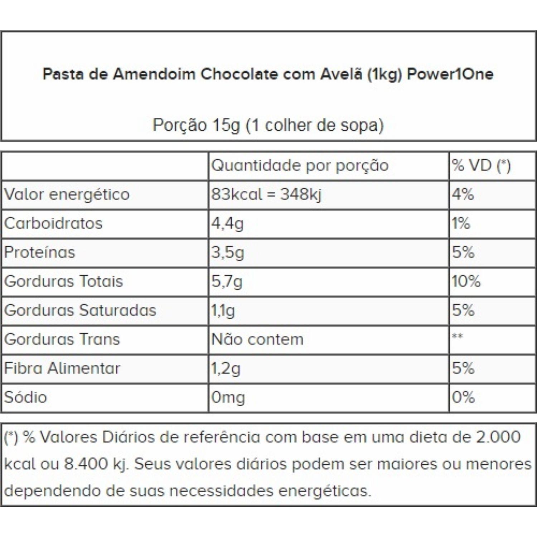 Pasta de Amendoim Power1One Chocolate e Avelã 1,005Kg