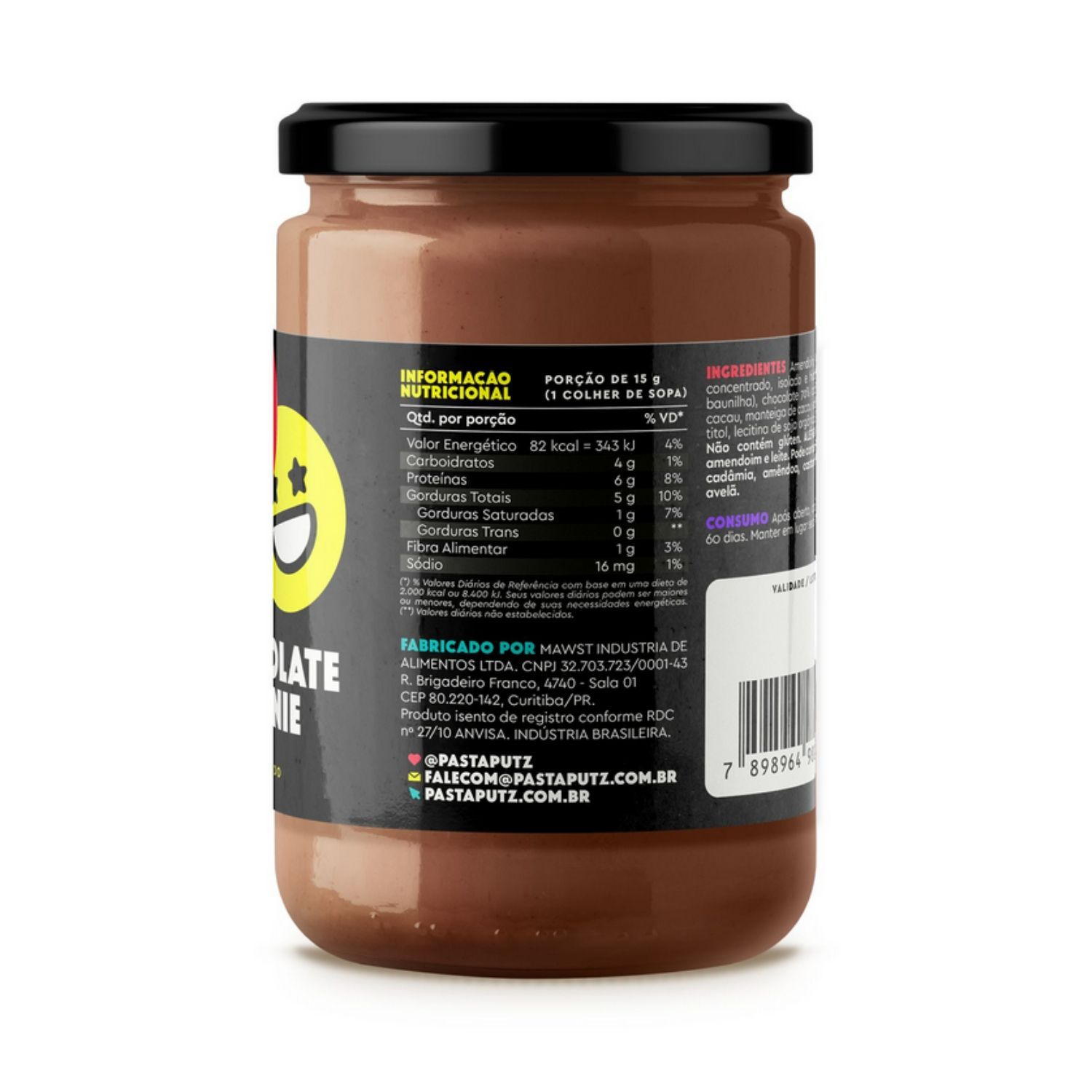 Pasta de Amendoim Putz! Chocolate Brownie com Whey Protein 600g