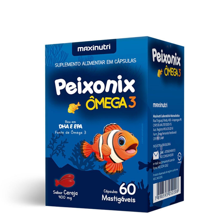 Peixonix Ômega 3 400mg 60 Cápsulas Mastigáveis Maxinutri