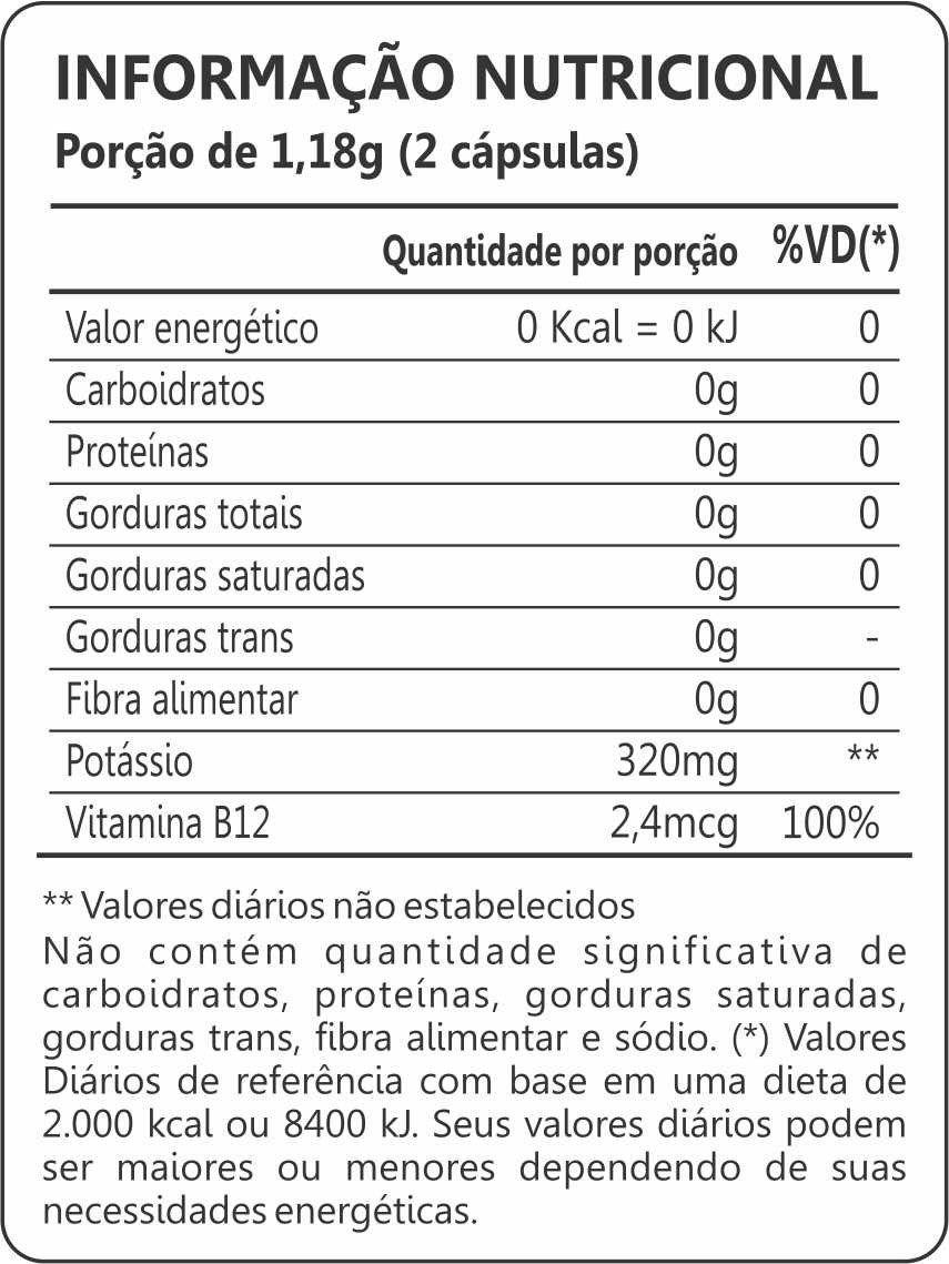 Potássio + Vitamina B12 60 Cápsulas Maxinutri