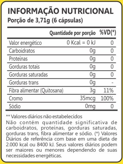 Quitosana + Picolinato de Cromo 60 Cápsulas Maxinutri