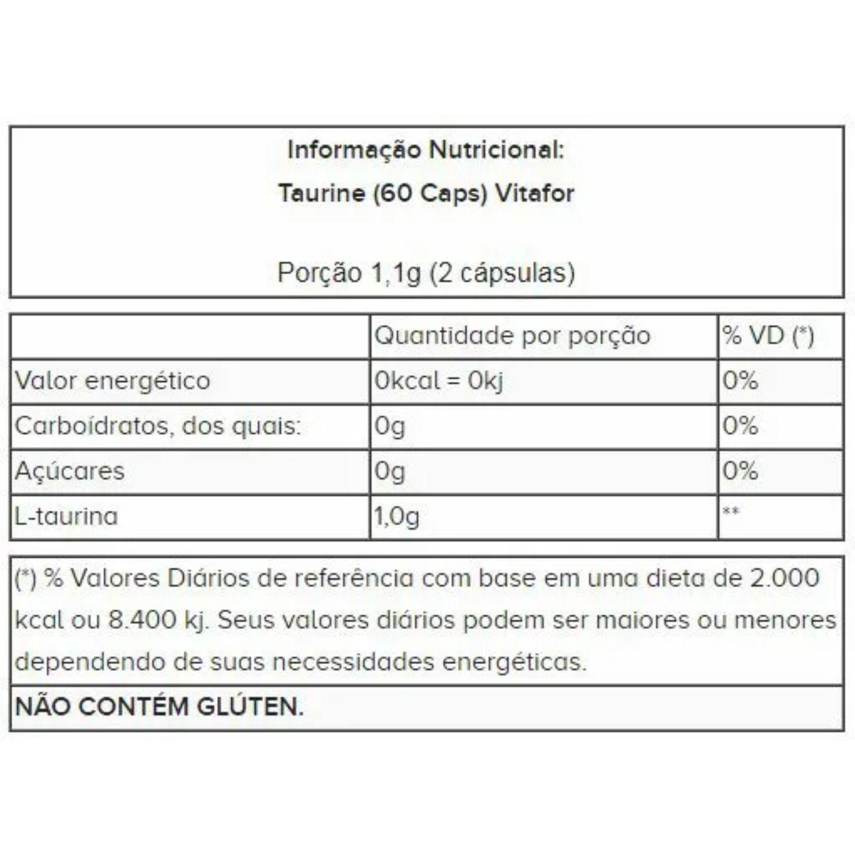 Taurine 60 Cápsulas Vitafor
