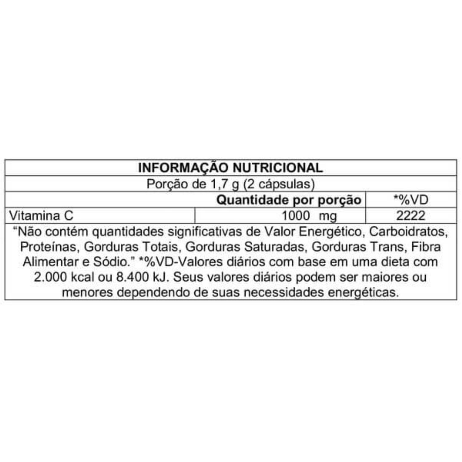 Vitamina C Neutra C Cleanlab 1000mg 60 Cápsulas Atlhetica Nutrition