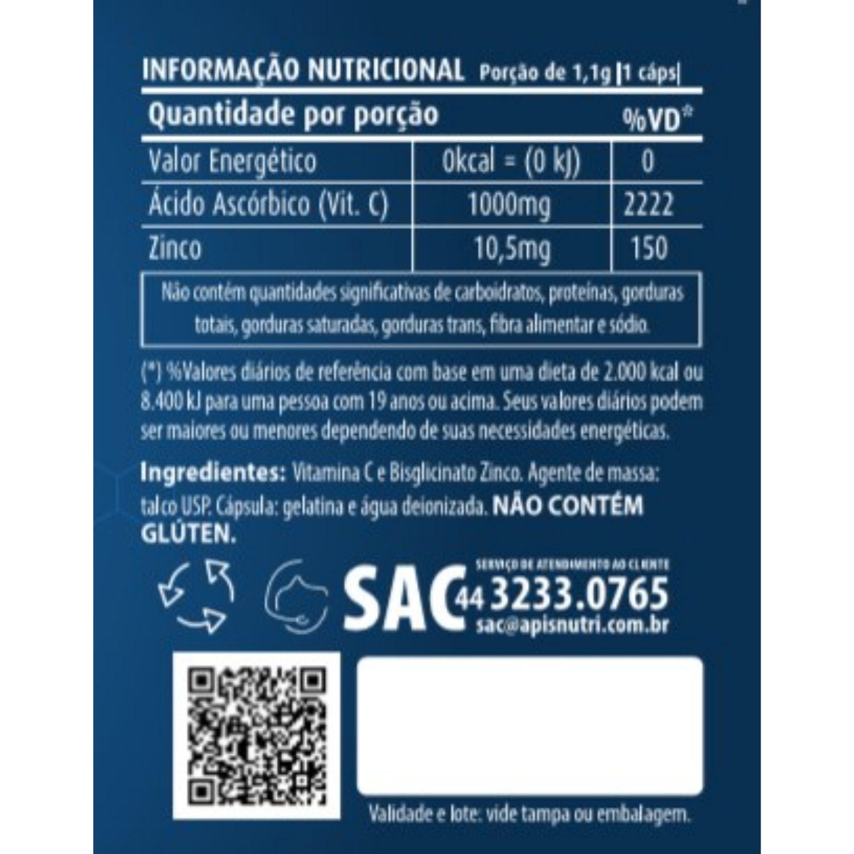 Vitamina C + Zinco 60 Cápsulas Apisnutri