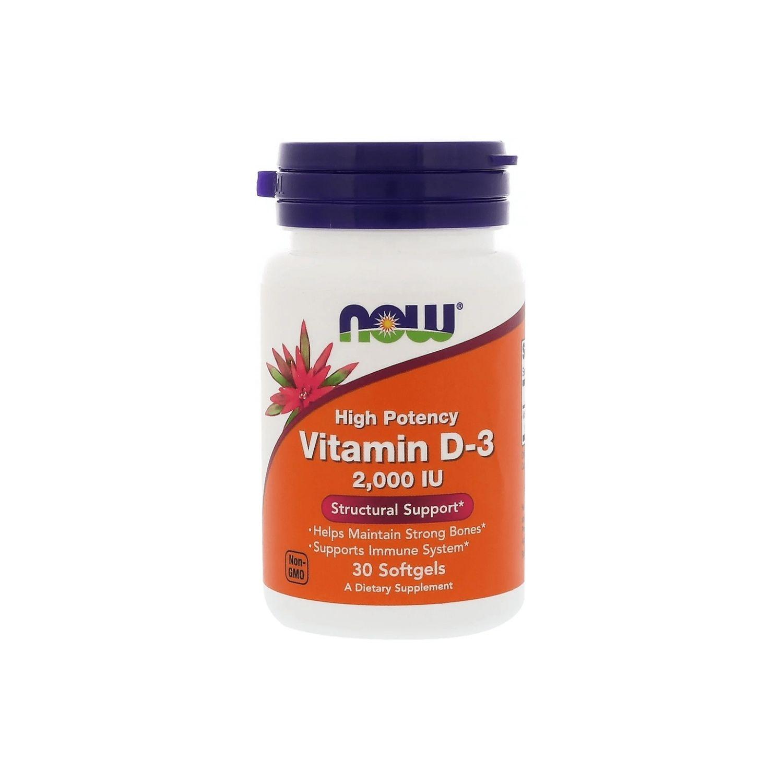 Vitamina D-3 2000UI 30 Cápsulas Now Foods
