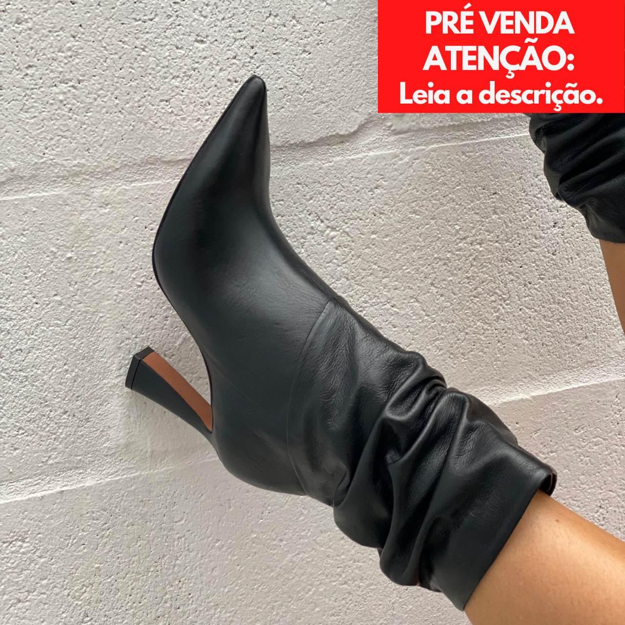 BOTA COURO SLOUCH PRETO VICENZA *** PRÉ VENDA *** DATA PREVISTA DE ENVIO 15/06