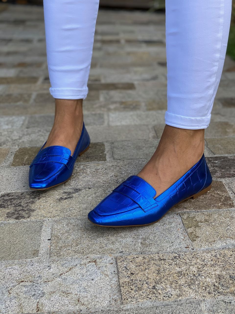 SAPATO LOAFER CROCO METAL ROYAL VICENZA