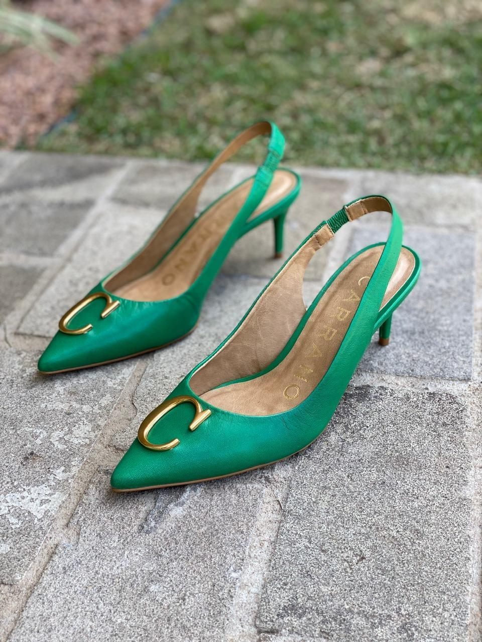 SLINGBACK COURO GREEN CARRANO