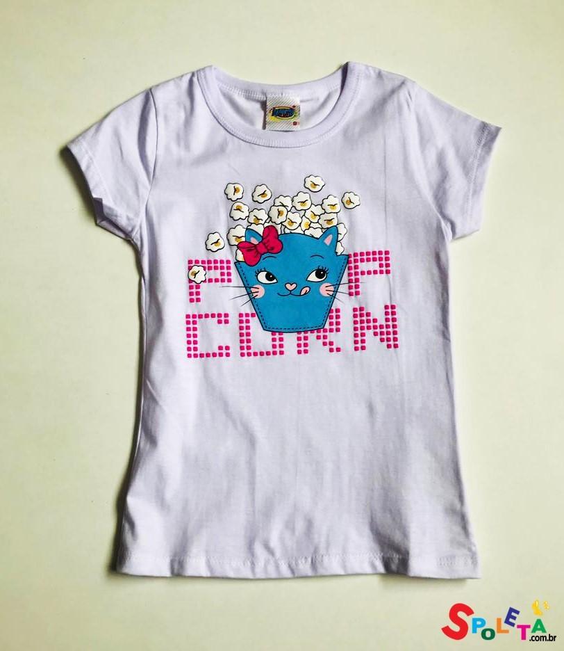 Blusa Infantil Feminina Cat Popcorn