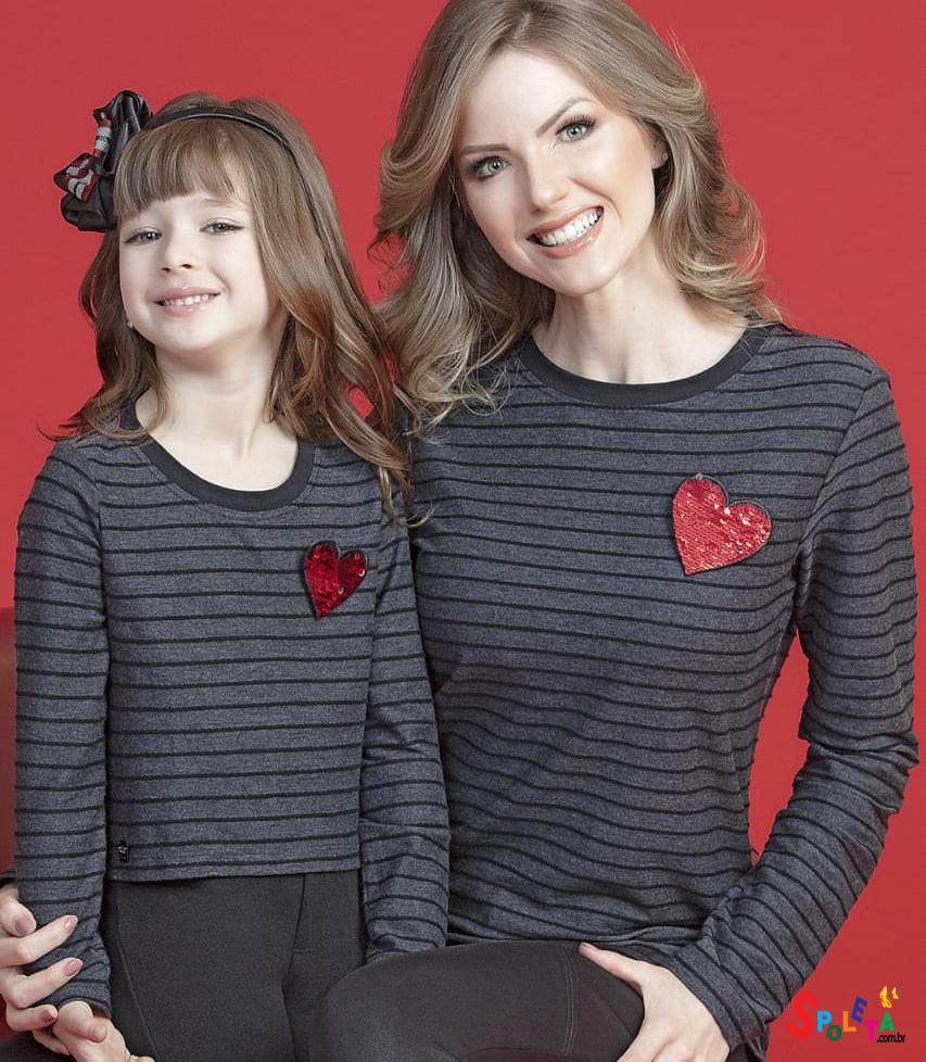 Blusa Listrada Moda Mãe E filha