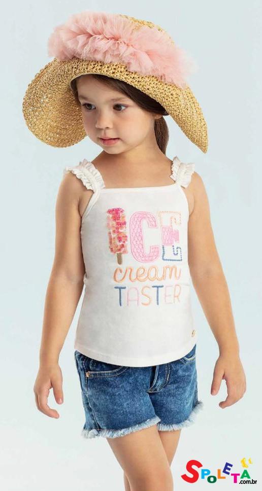 Blusa Infantil Feminina Regata Verão Ice Cream Petit Cherrie