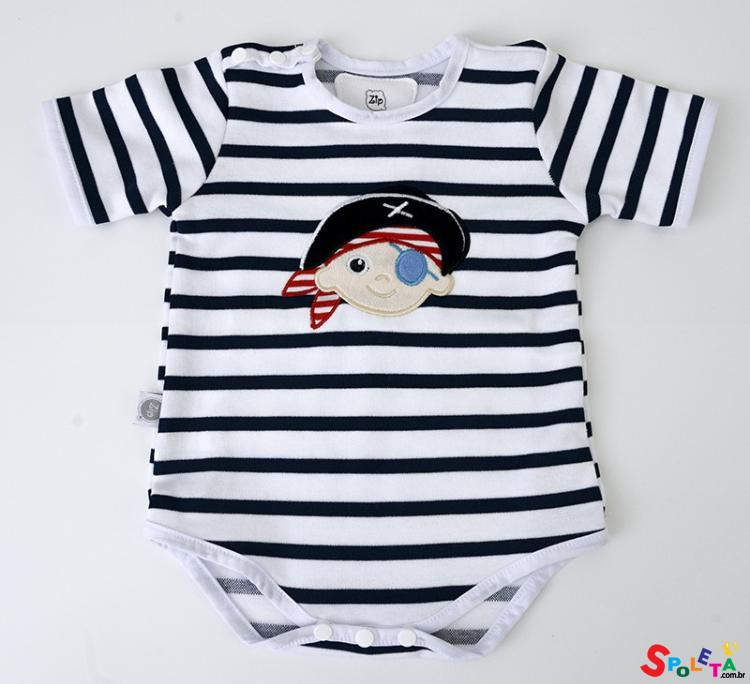 Body Infantil Masculino Pirata Zip