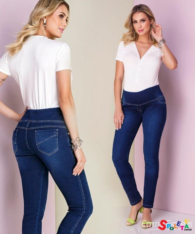 Calça Gestante Jeans Moletom Skinny