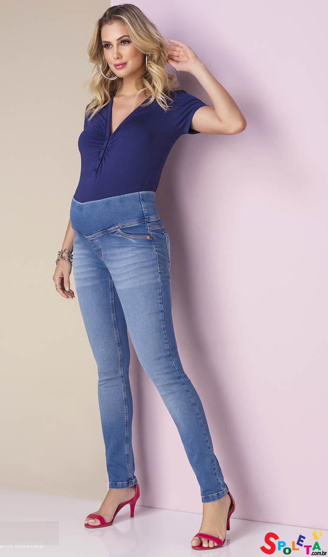 Calça Gestante Jeans Skinny