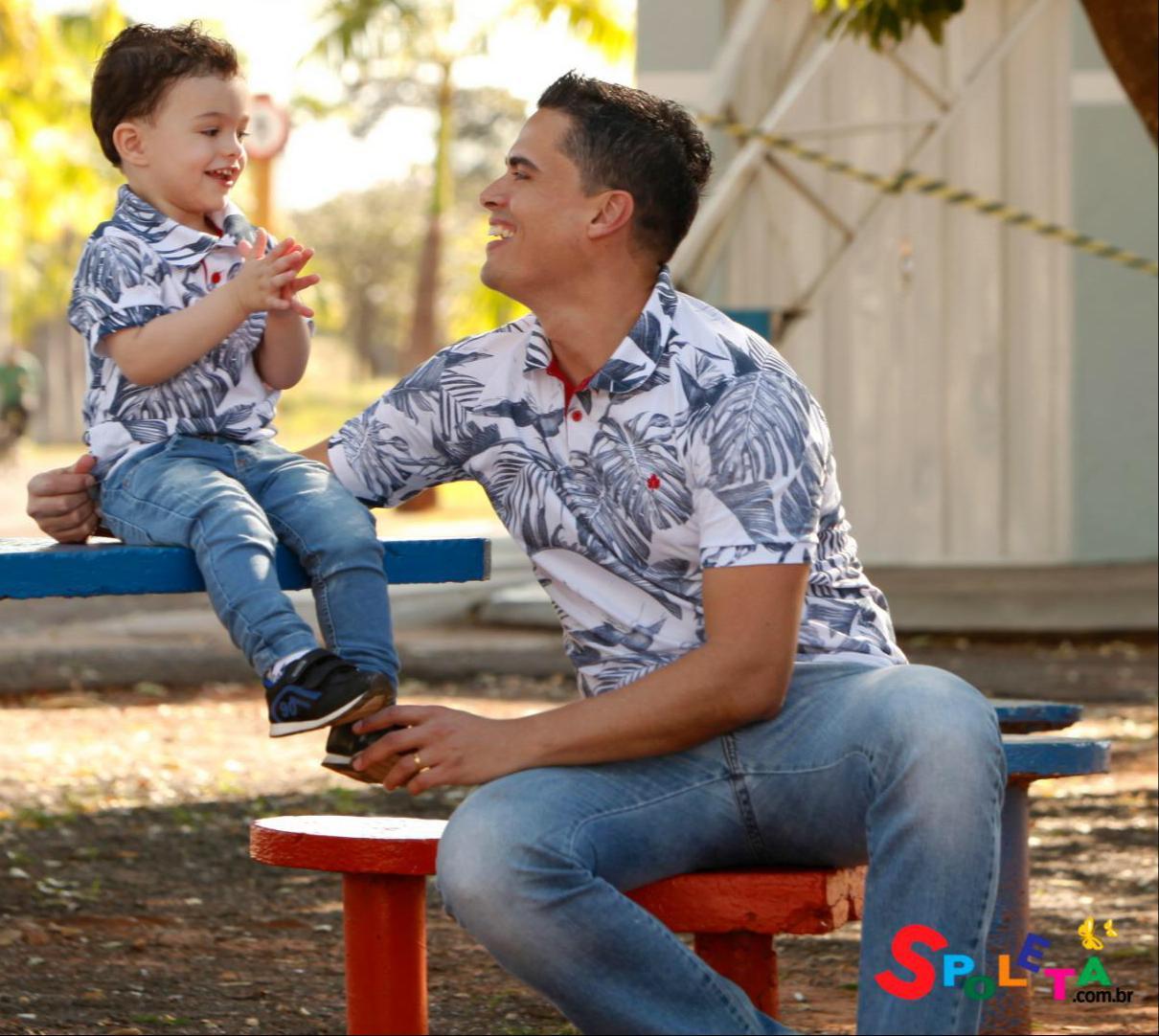 Camisa polo folhagens Pai