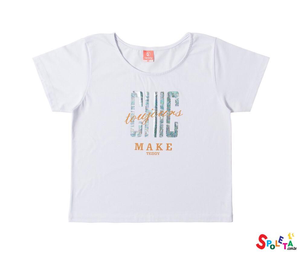 Blusa Infantil Feminina Manga Curta Chic