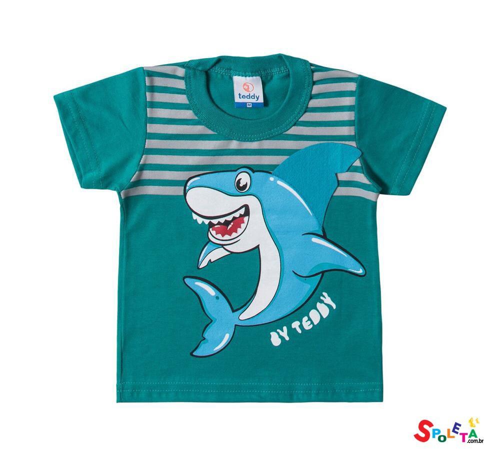 Camiseta Infantil Masculina Manga Curta Tubarão