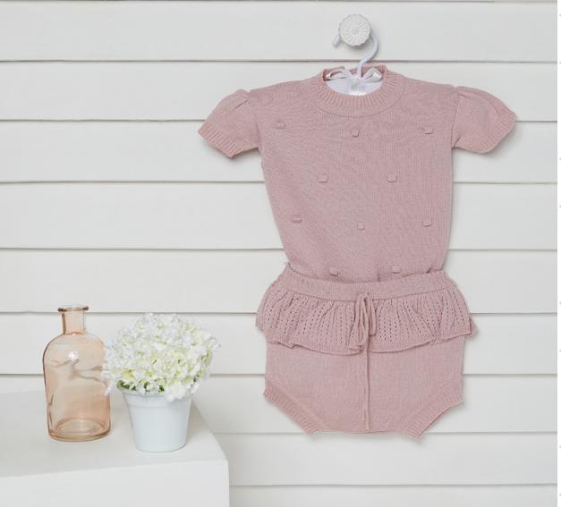 Conjunto Body e Tapa fralda Bebê feminino Curto em tricô