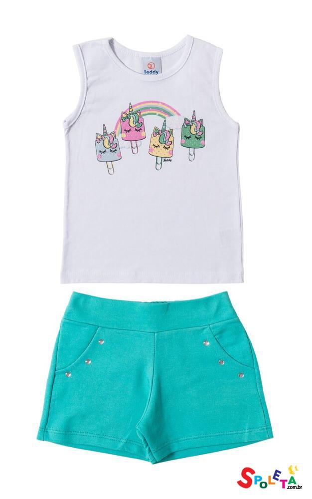 Conjunto Infantil Feminino Regata Arco íris