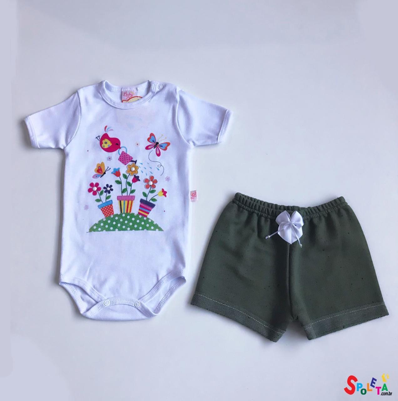 Conjunto Infantil Feminino Body e Short Jardim