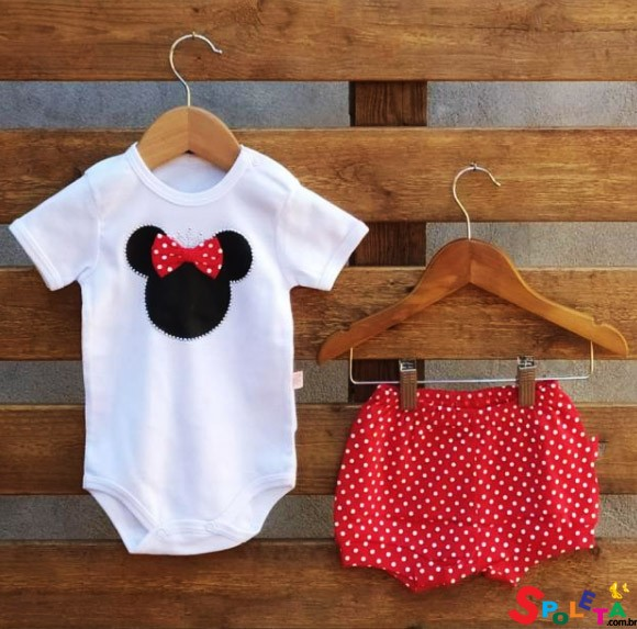 Conjunto Infantil Feminino Body e Short Minnie