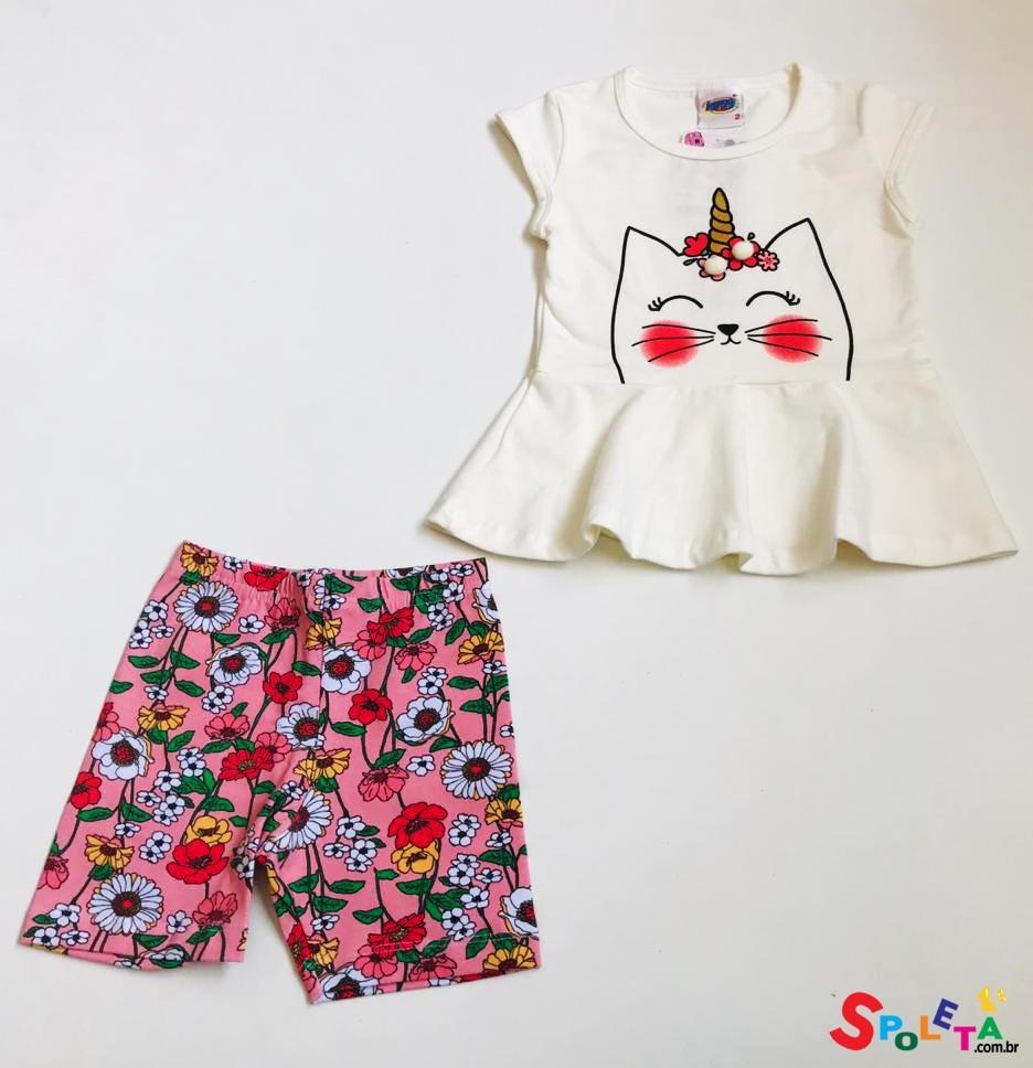 Conjunto Infantil Blusa e Short Unicórnio