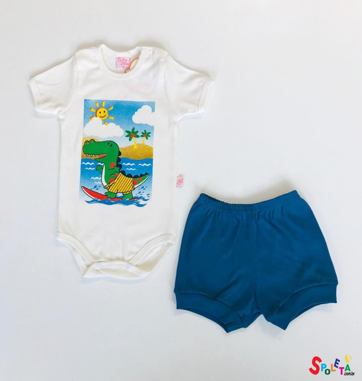 Conjunto Infantil Masculino Body e Short Dino Sun