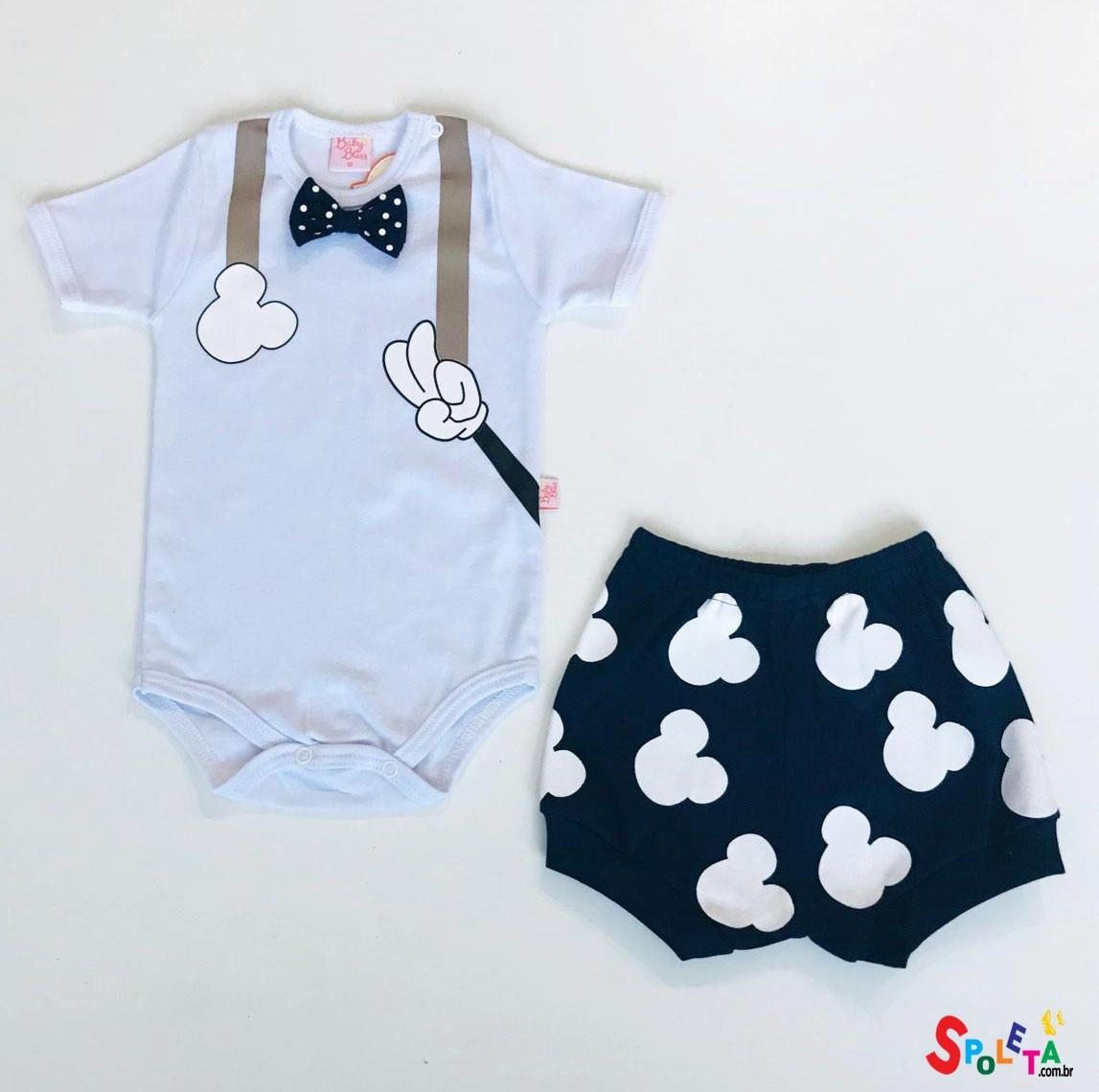 Conjunto Infantil Masculino Body e Short Mickey Gravatinha