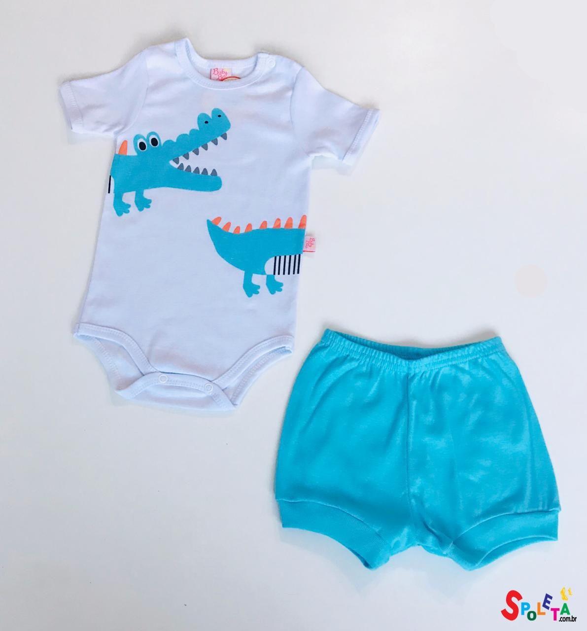 Conjunto Infantil Masculino Body e Short Jacaré