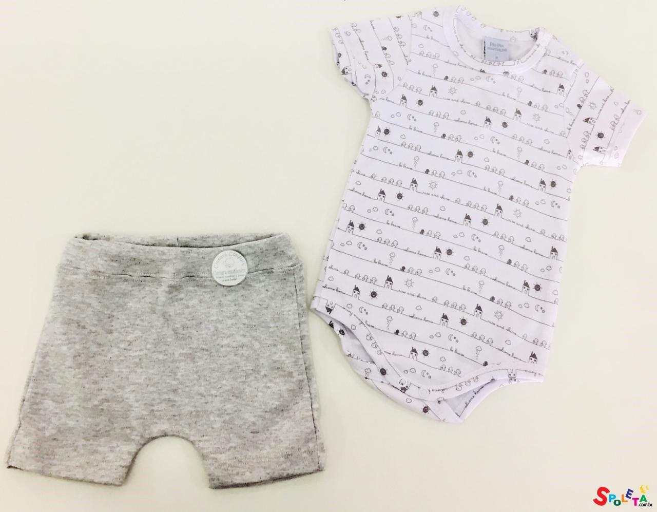 Conjunto Infantil Unissex Body e Short Ducks