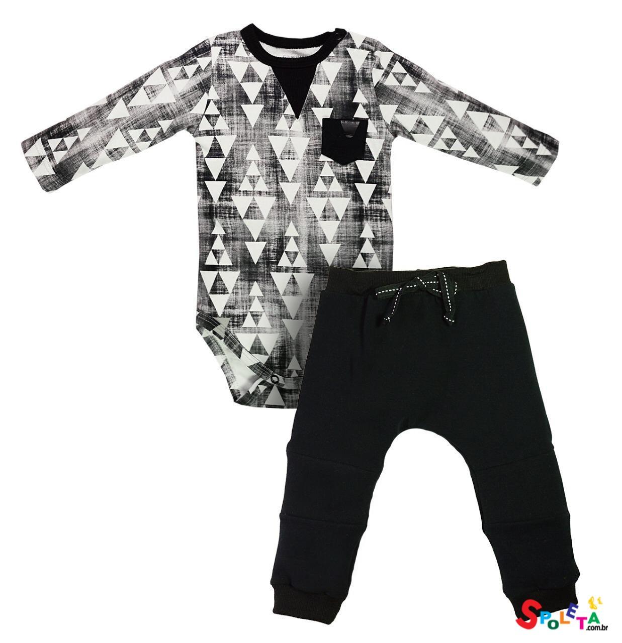 conjunto masculino body manga longa e calça cotton