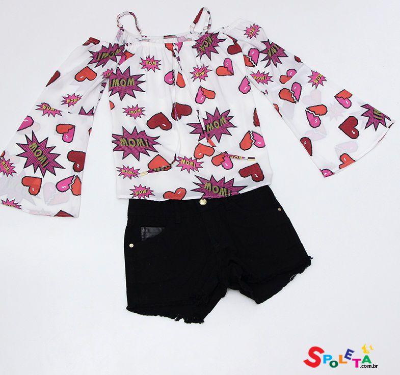 Conjunto Feminino Bata Wow  Shorts Pakita