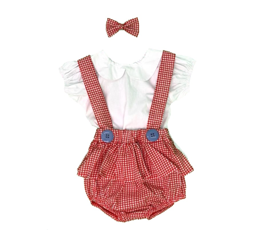 Conjunto Bebê Feminino Blusa e Jardineira Tetela
