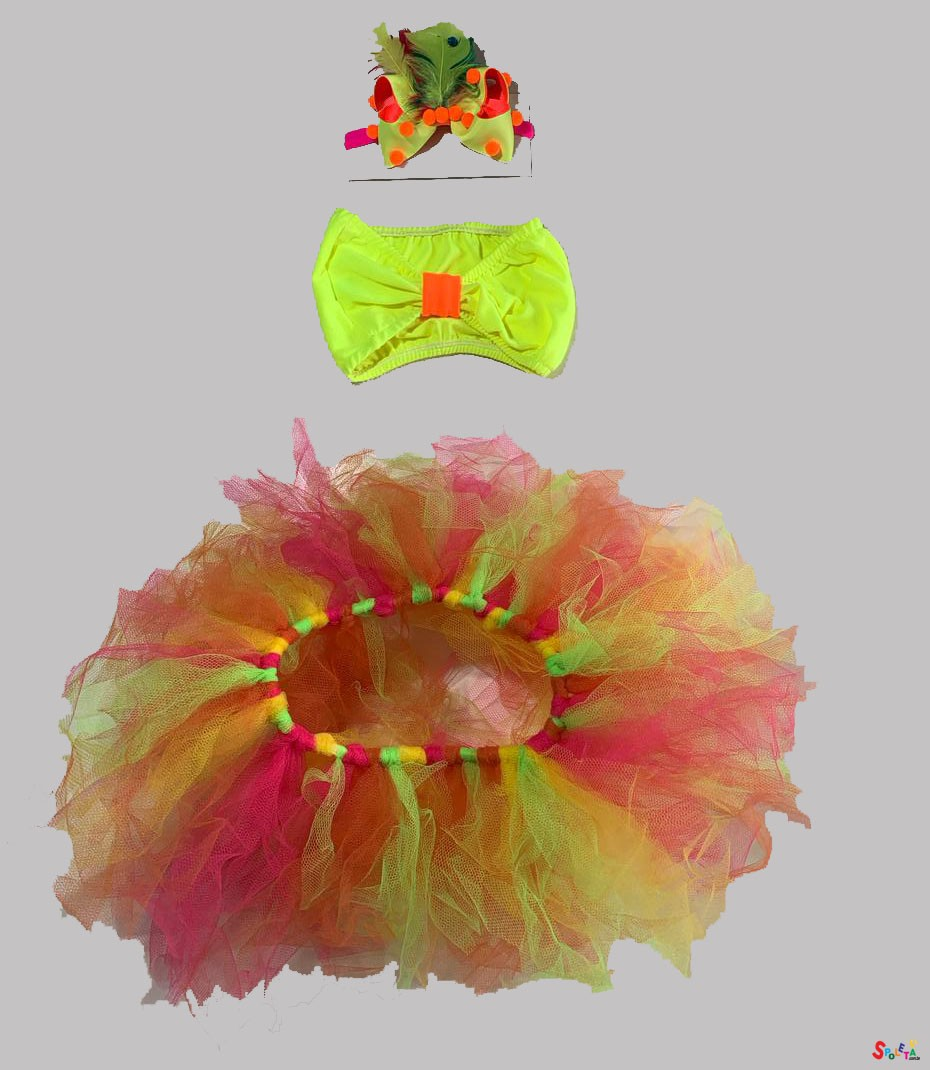 Fantasia Feminina 3pçs Carnaval Neon