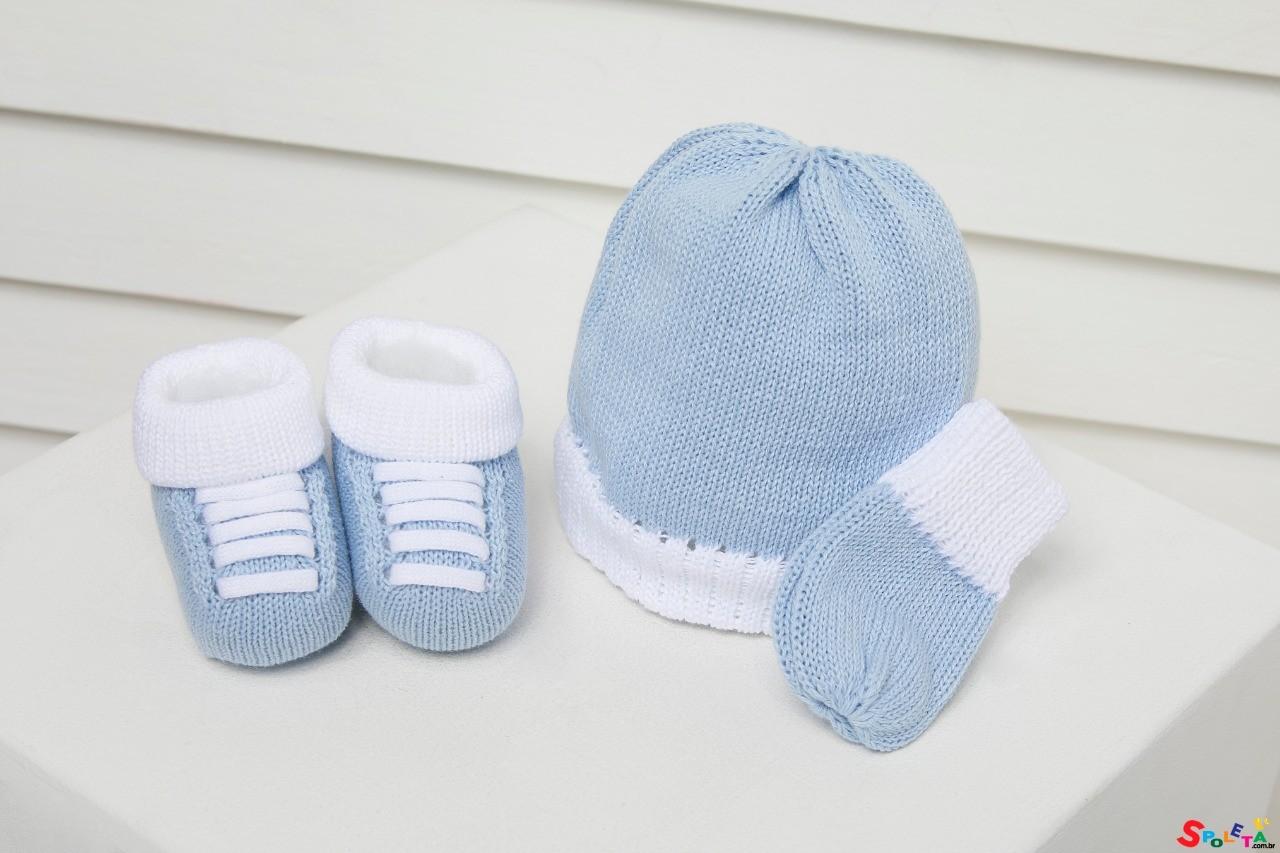 Kit Inverno Gorro Luva e Sapato Azul